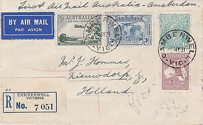 LM133) Australia 1931 small Commercial Airmail Registered First Flight Cover