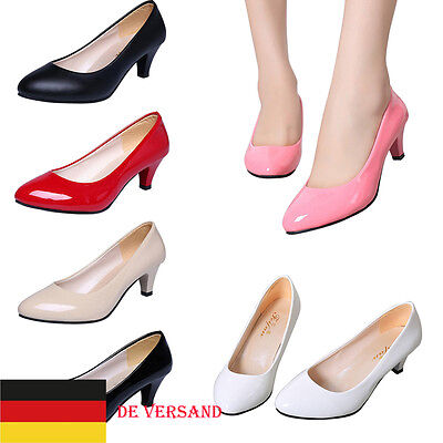 Damen Lackleder Pumps Court Abend Party Schuhe High Heels Lack Stiletto Absatz
