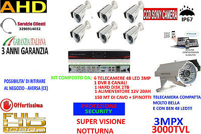 Kit Videosorveglianza Ip Cloud Dvr 8 Ch 6 Telecamere Ahd 3Mp 48 Led 2Tb