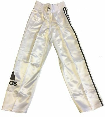 Adidas White Satin Kickboxing Training or Fight  Trousers