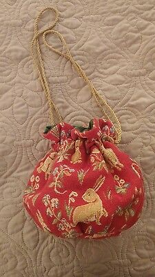 OOAK Renaissance Medieval LARP LOTR Purse Pouch Red with Bunnies CUTE