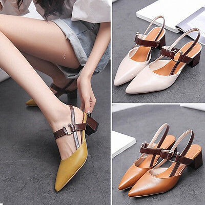 New Women's PU Leather Pointed Toe Block Low Heels Strap OL Formal Shoes Sandals
