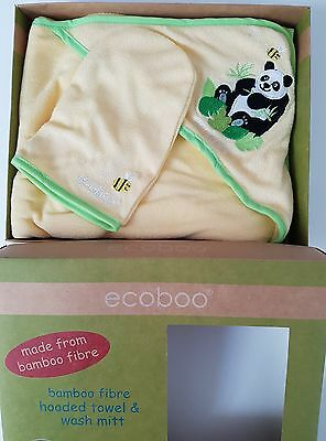 Hooded baby towel and wash mitt. New, boxed. Lemon. Ecoboo.