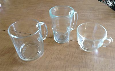 Lot of Three Vintage Clear Glass Coffee Cup Mugs With Handles