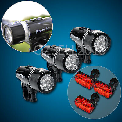 3x Mountain Bike Bicycle Cycling Torch Front +3x LED Rear Lamp New
