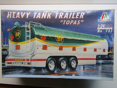 "Italeri 1:24 Scale Heavy Tank Trailer ""Topas"" BP Fuel Tanker Model Kit - New"