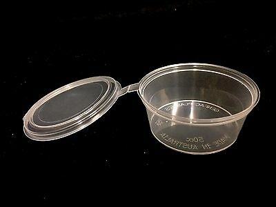 100 HINGED Lid Clear 40ml Plastic Sauce Disposable Container  AUS. Made