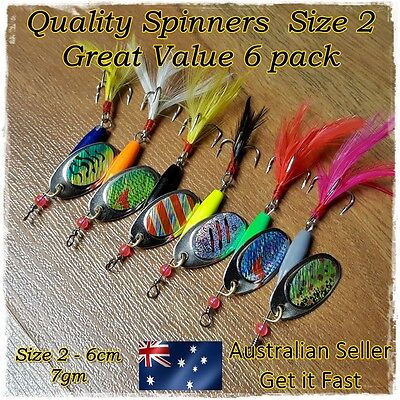 Freshwater Spinners Spinner Spoon Metal Lures Trout Redfin Perch Yellowbelly 6pk