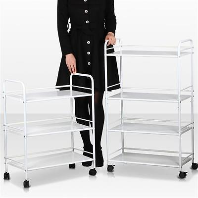 3/4 Hair Drawers Mental Salon Trolley White Rolling Cart Tools Storage Cart