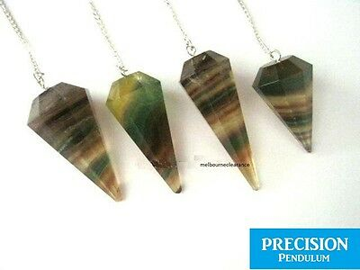 Solid Rainbow Multi Fluorite 12-Faceted Precision Pendulum Crystal Gemstone