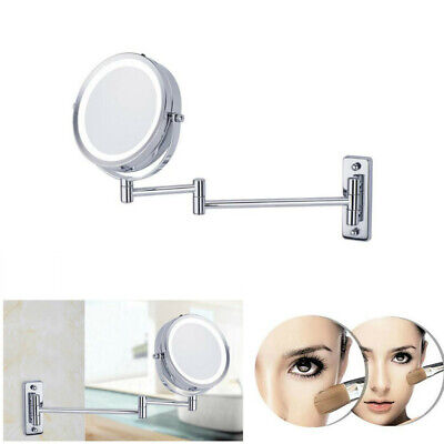 LED 5X Magnifying Mirror Wall Mounted Swing Arm Counter Bath Shave Makeup
