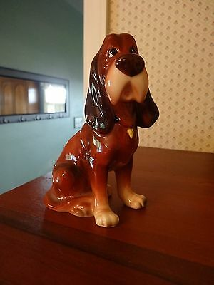 Vtg TRUSTY Disney The Lady and the Tramp Ceramic Blood Hound Dog Figurine Japan