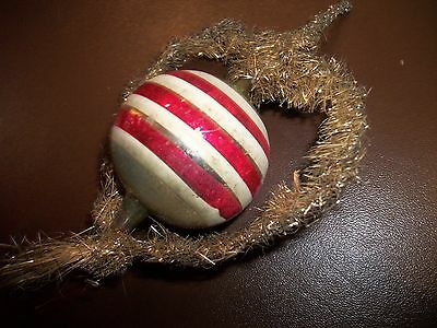 Antique Christmas Ornament German Wire Wrapped And Striped  Blown Glass