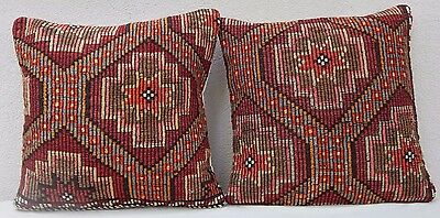 20'' X 20'' Rustic Kilim Throw Pillow Covers Set of Two Wool Large Couch Pillows