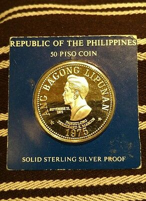 1975 Philippines Silver 50 Piso Sterling Silver Proof Coin