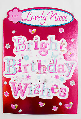 For A Lovely Niece Happy Birthday Greeting Card Envelope Seal Cute Pink Girls
