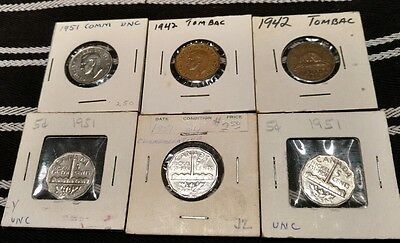 Canada Nickel Lot B: 1942 Tombac, 1951 UNC LOT OF 6 COINS