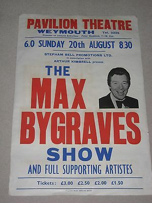 Vintage 1970's Theatre Poster - Max Bygraves at Weymouth Pavillion