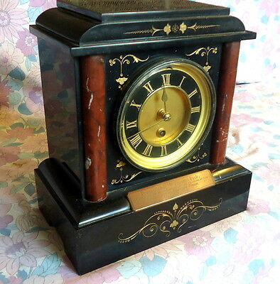 """SAMUEL MARTI.""  Marble & Slate Mantel Clock  with a Plaque. Works  c1870."