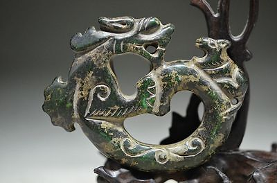 Good quality Chinese green old jade hand carved dragon statue cd3
