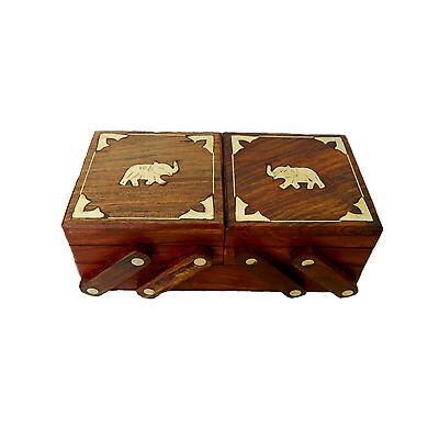 Exclusive Handmade Wooden Carved Jewellery Box WIth  Multiple Compartments