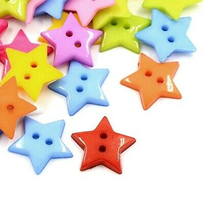 Packet 50+ Mixed Acrylic 19mm Star 2-Holed Sew On Buttons HA09600
