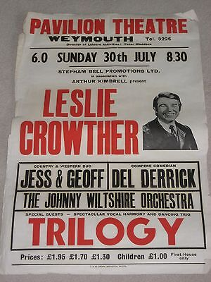 Vintage 1970's Theatre Poster - Leslie Crowther at Weymouth Pavillion