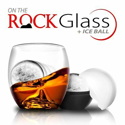 On the Rocks Tumbler and Ice Ball Whiskey Scotch Glass