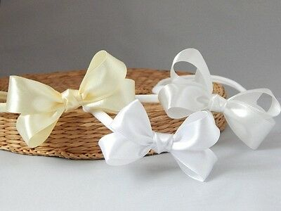 Baby bow headband satin baby skinny hair band for baptism christening Handmade