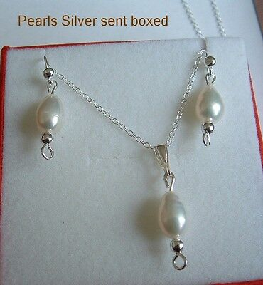 925 Sterling Silver pearls necklace and earrings set gift box.