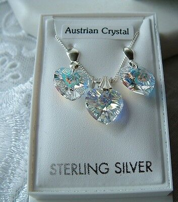 925 Sterling Silver genuine Austrian necklace and earrings set boxed gift