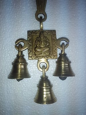Brass Auspicious Lord Ganesh Hanging Temple Religious Metal Welcome Door Bell