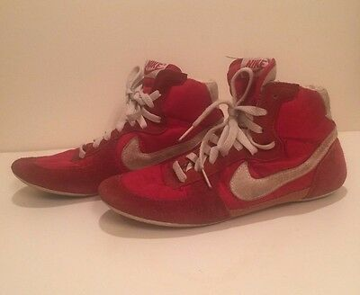 Vintage Nike Wrestling Shoes Red White Swoosh High Top Size 7 1970s 70s 1980s