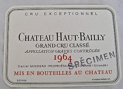 Vintage Wine Label 1964 Chateau Haut-Bailly Grand Cru Classe Specimen