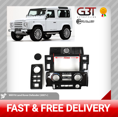 LandRover Defender 2007-Stereo Double Din Fascia Mounting Kit Carbon effect E120