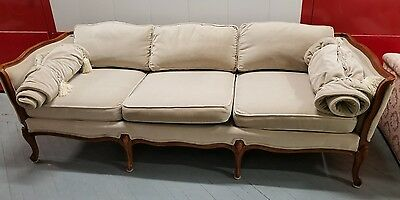Vintage French Provincial Velvet 100% Down Sofa Oatmeal Very Comfortable