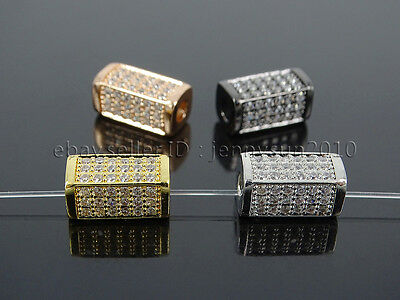 Zircon Gemstones Pave Rectangle Bar Bracelet Connector Charm Beads Gold Silver