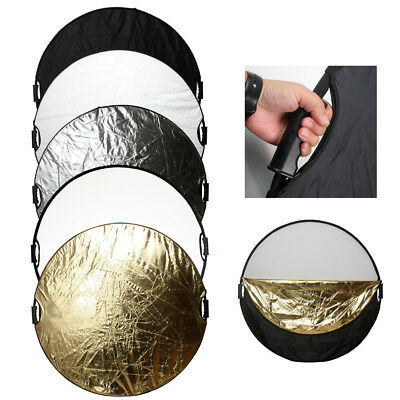 """110cm 43"""" 5 in 1 Multi Photo Studio Reflector Handle Grip Collapsible Disc Kit"""