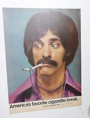 Benson & Hedges 1971 Print Ad 100's Cigarette Advertising Mustache 70s Disco