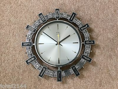 Original 1960's Retro Vintage Metamec Sunburst Wall Clock German Movement