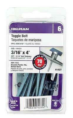 """Hillman Toggle Bolt 3/16 """" X 4 """" 8 / Card Pack of 5"""