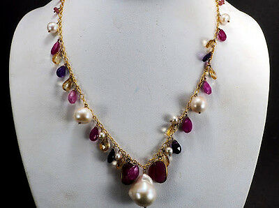 Top quality Dangle Big Pearl Ruby Amethyst Citrine Gold Sterling Silver Necklace