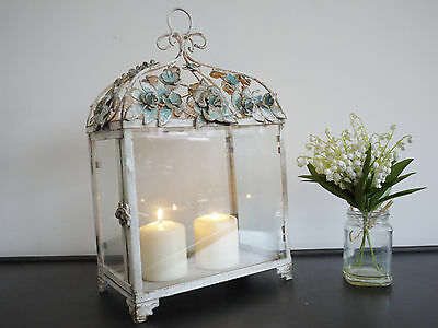French Antique Vintage Garden Candle Hurricane Lantern Lamp Holder Large 41cm