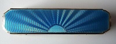 Silver Cothes Brush*blue Guilloche Enamelled*m/h Birm 1933 Art Deco Design