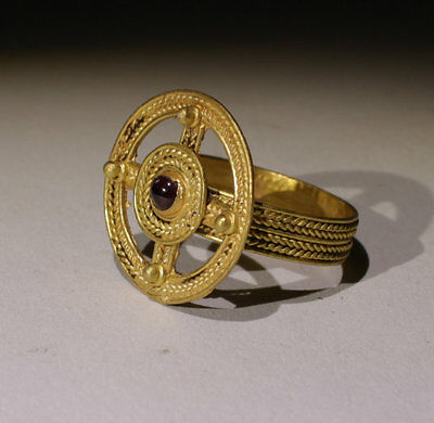 Lovely Ancient Roman Gold Cross Ring With Garnet- Circa 5Th Century Ad