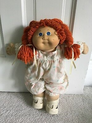 Vintage Cabbage Patch Doll Red Hair Blue Eyes Dimple 1982 Clothes Socks Shoes