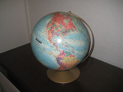 Maclean's World Globe Replogle, Embossed,  12 inches diameter on metal stand