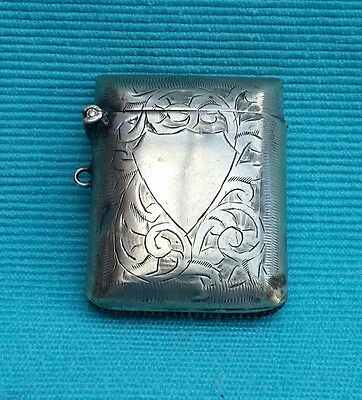 Beautiful Vintage Silver plate Vesta case with blank cartouche