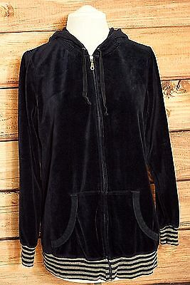Motherhood Maternity Navy Blue Velour Full Zip Hoodie Sweatshirt Size M EUC