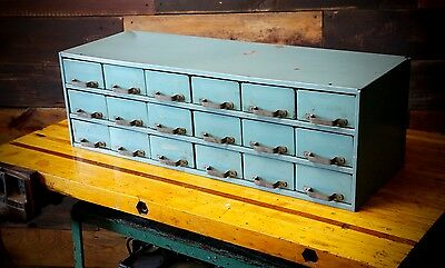 Vintage Steel Industrial Parts Bin 18 Drawer Blue Storage Cabinet Hardware Box